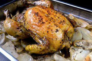 pollo horno guarnición patatas