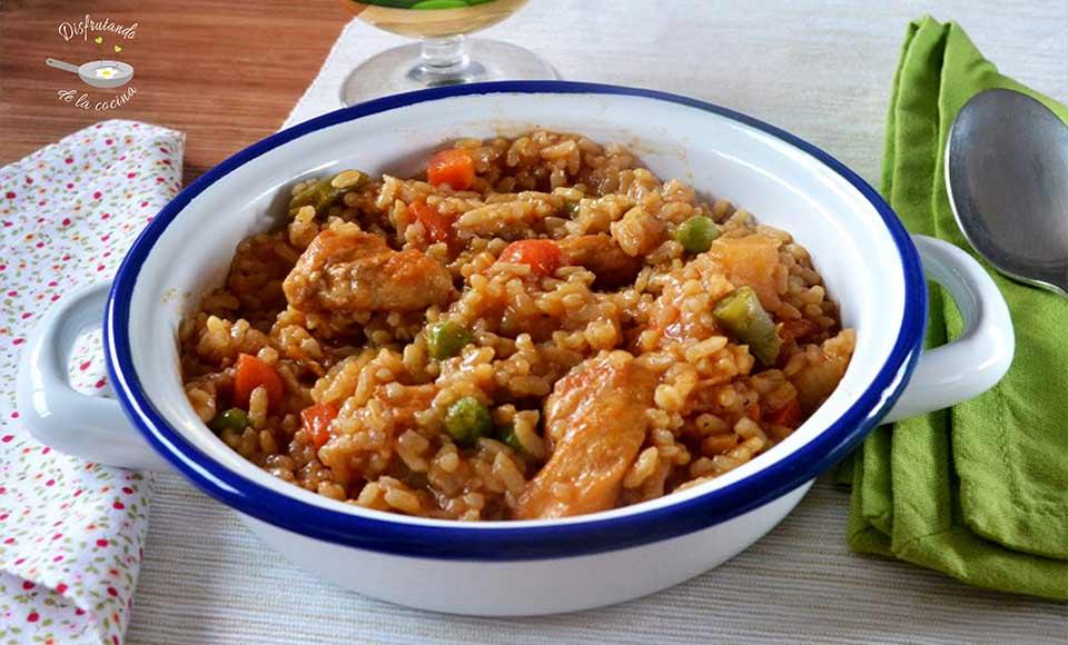 Receta de arroz con verduras y pollo