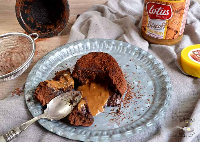 Coulant chocolate crema galletas lotus speculoos receta