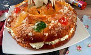 Roscón de Reyes relleno de nata (Recetas Postres fácil)