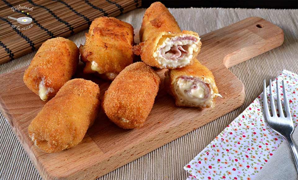 Cómo hacer rollitos de pollo rellenos de jamon y queso