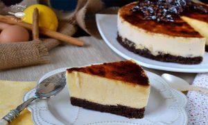 Mousse de crema catalana con brownie de chocolate (Receta Postre fácil)