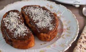 Torrijas con leche de coco y chocolate