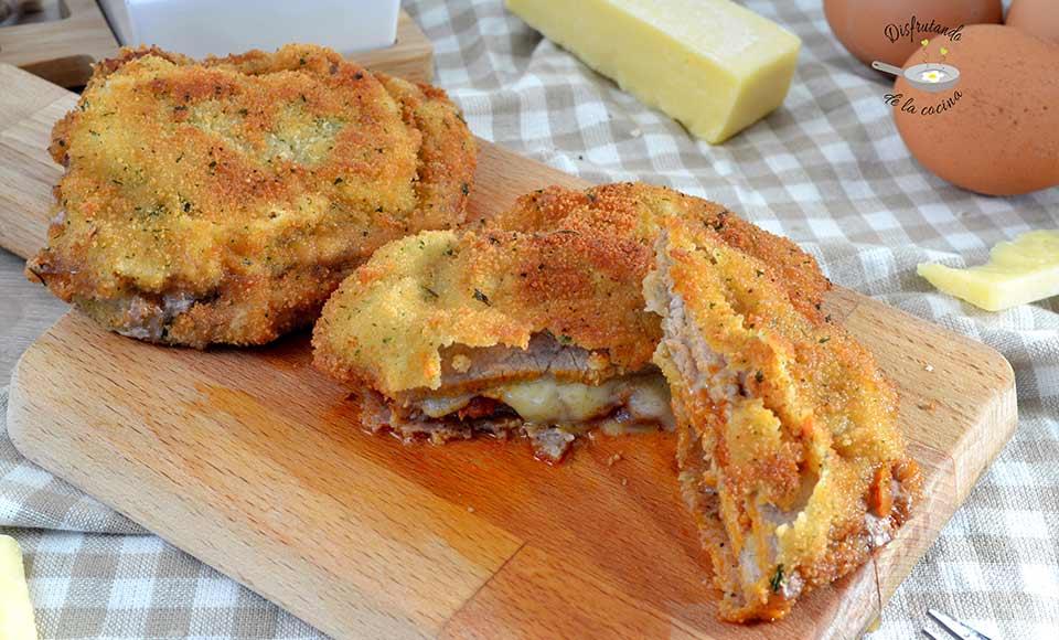 Receta de cachopo de sobrasada y queso