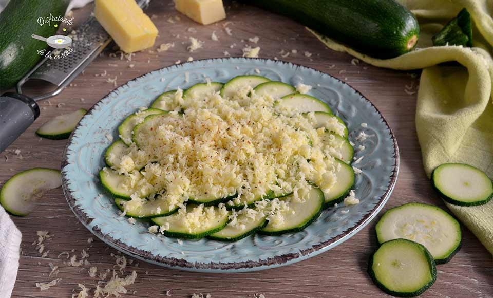 Receta de carpaccio de calabacin con queso rallado