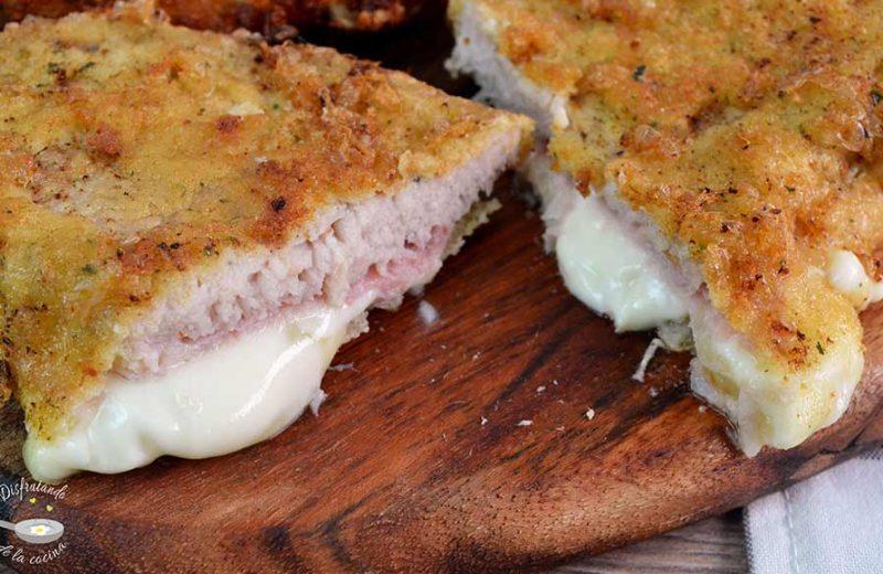 Receta de libritos de cerdo rellenos de jamón y queso