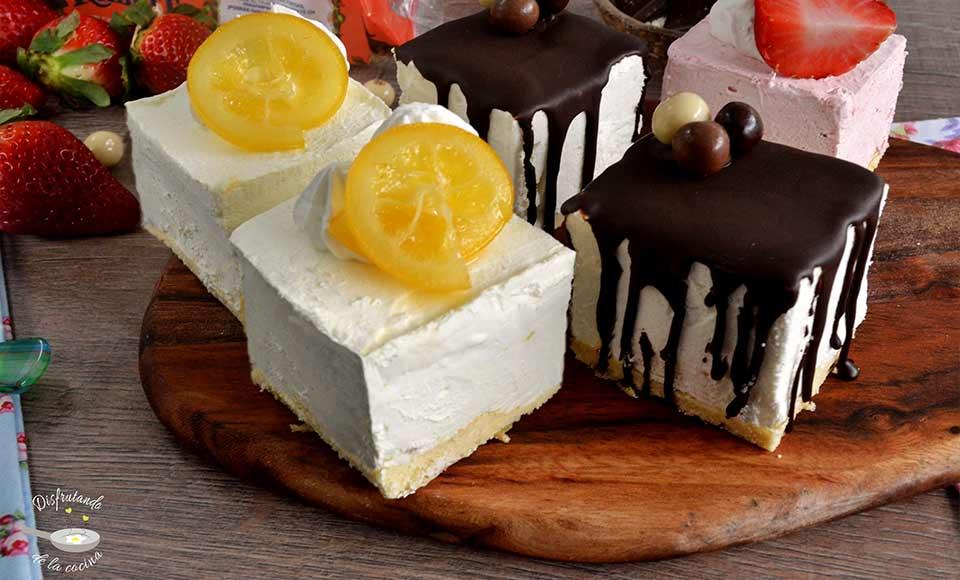 Receta de mini mousses de limón, y de coco y chocolate