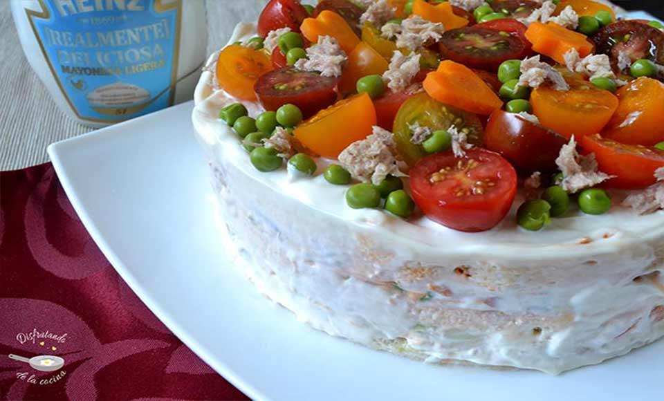 Receta de pastel de atun y ensaladilla frío casero