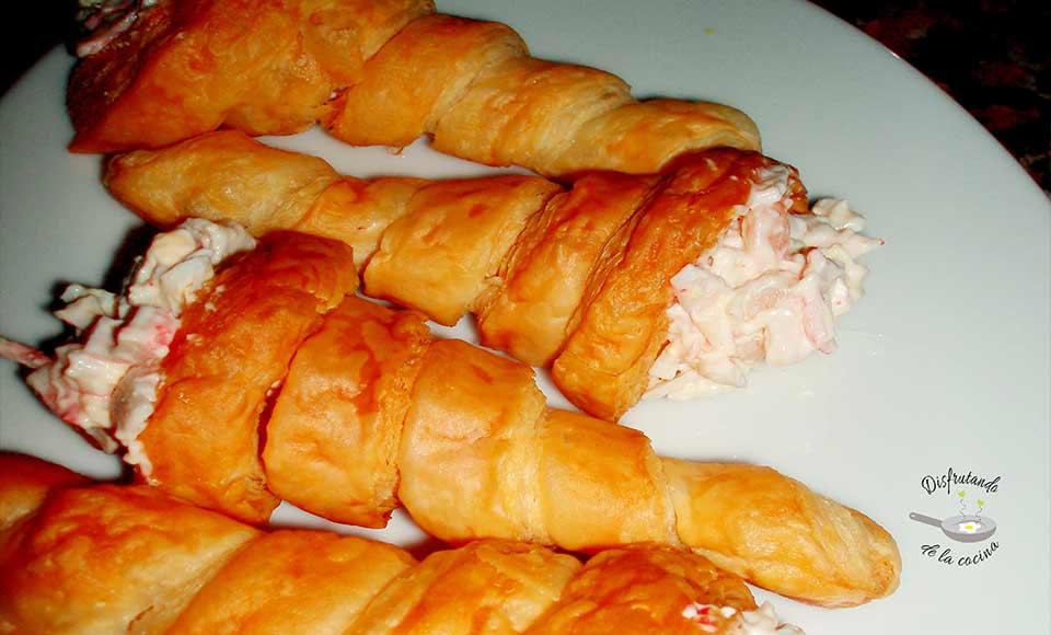 Receta de conos de hojaldre rellenos para aperitivo