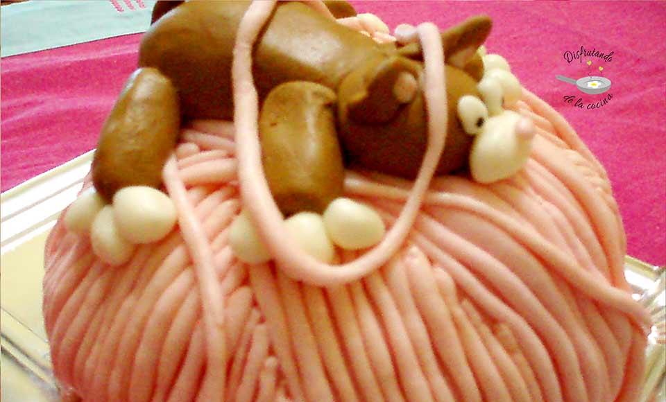 Receta de tarta de fondant de gato y ovillo