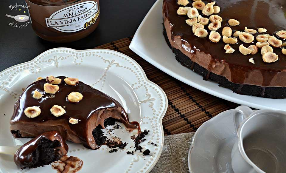 Receta de cheesecake o tarta de queso de Crema de Avellanas sin horno
