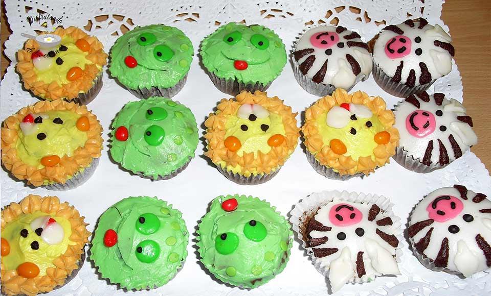 Cupcakes de animales de la selva para niños
