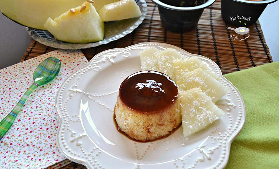 receta de flan de melón, coco y ron