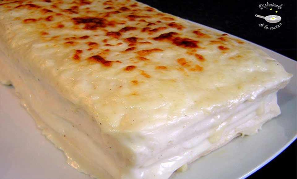 Receta de pastel de jamón y queso con bechamel o Pastel Croque Monsieur