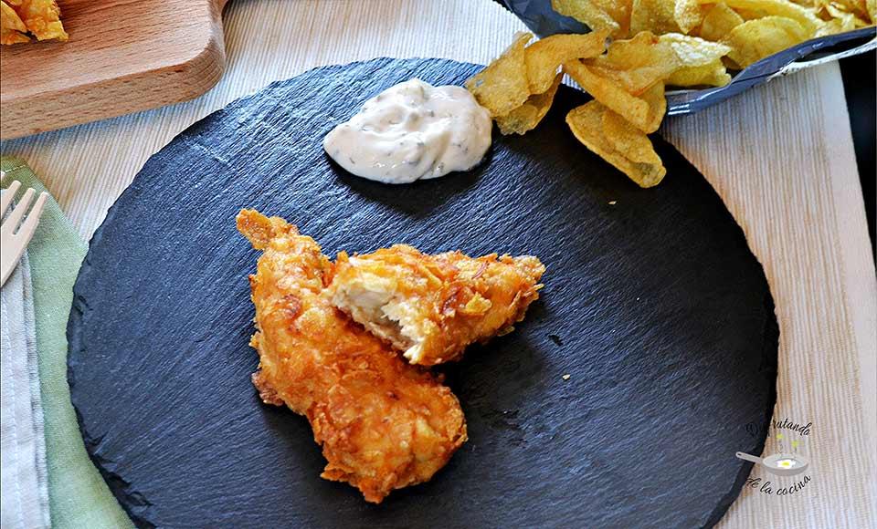 Receta de pollo rebozado con patatas chips