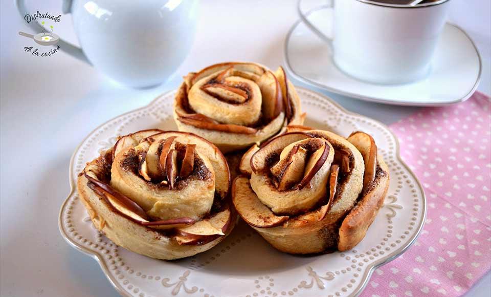 Receta de rosas de manzana y canela