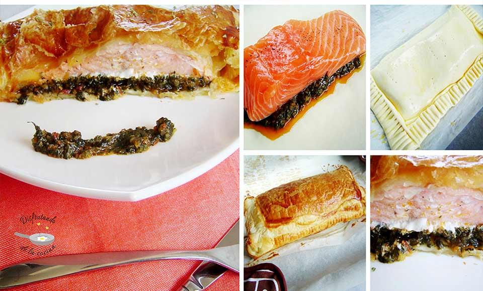 Receta de salmón en hojaldre con lecho de espinacas y tomate