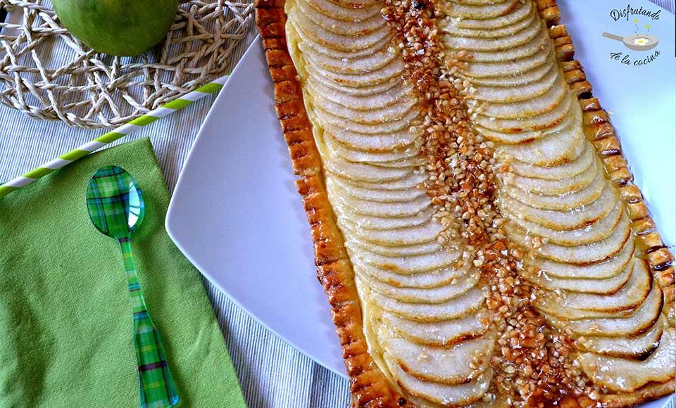 Receta de tarta de manzana y crema de hojaldre