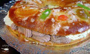 Tortel o roscón de Reyes relleno de nata y trufa