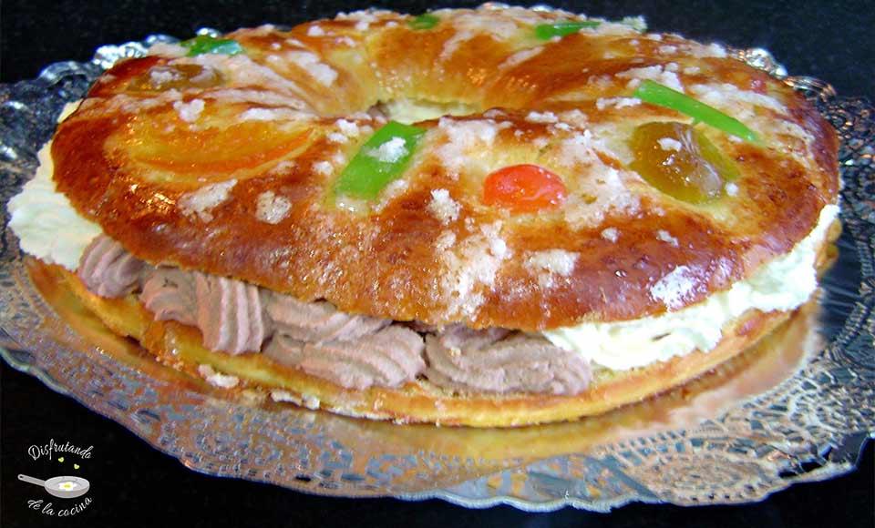 Receta de tortel o roscón de Reyes relleno de nata y trufa