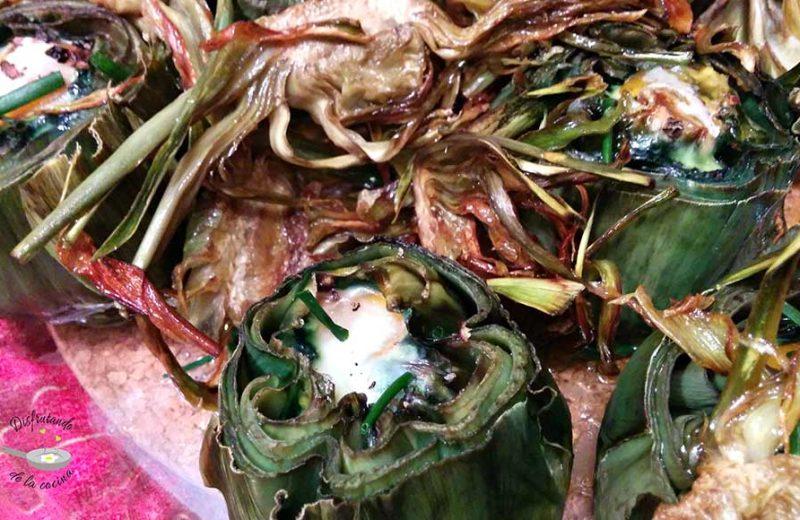 Receta de alcachofas al horno con huevos de codorniz