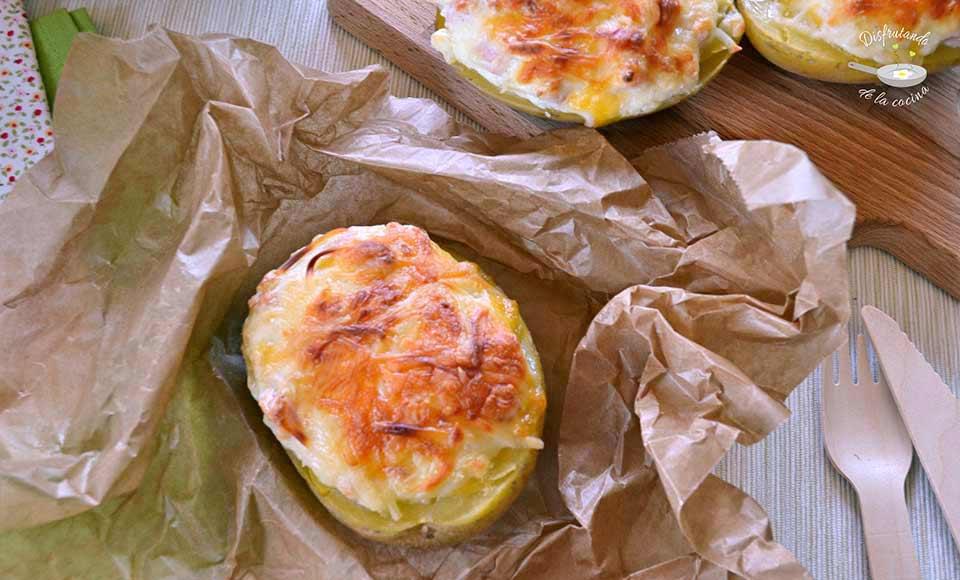 Receta de patatas rellenas de pavo y queso