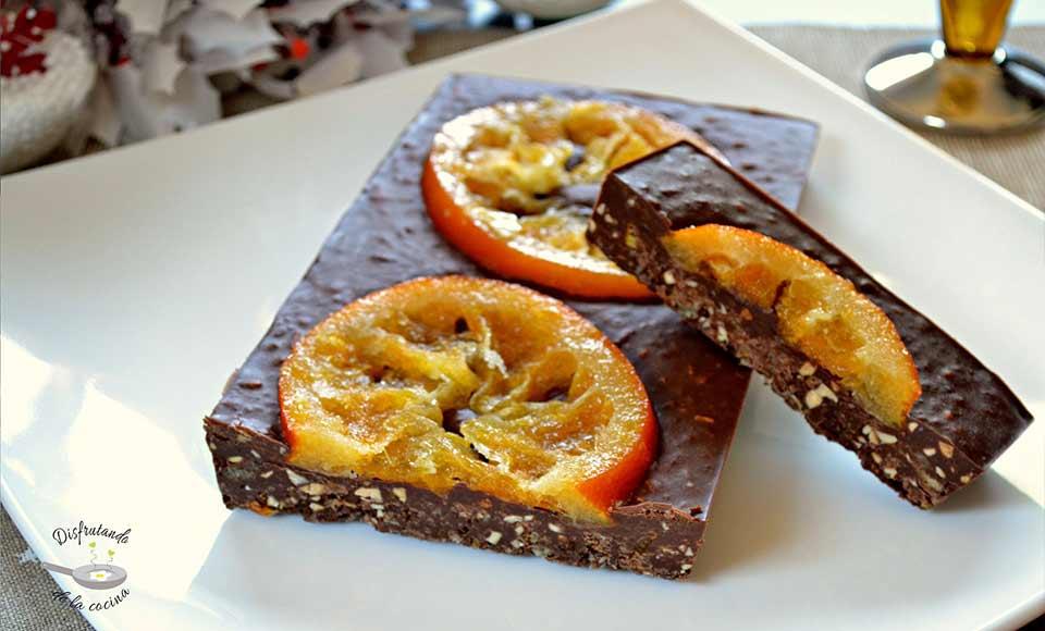Receta de turrón de chocolate y naranja
