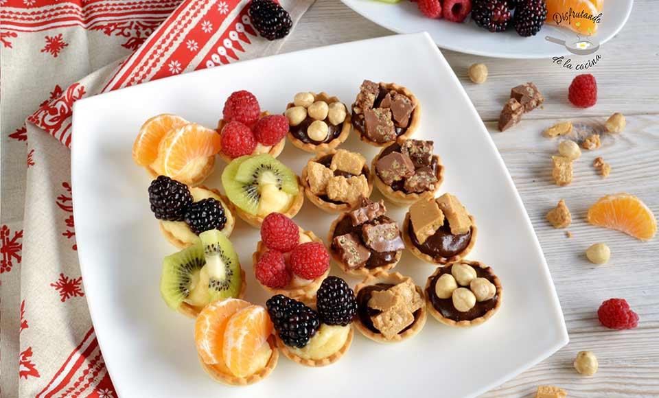 Receta de tartaletas de frutas con crema pastelera y chocolate